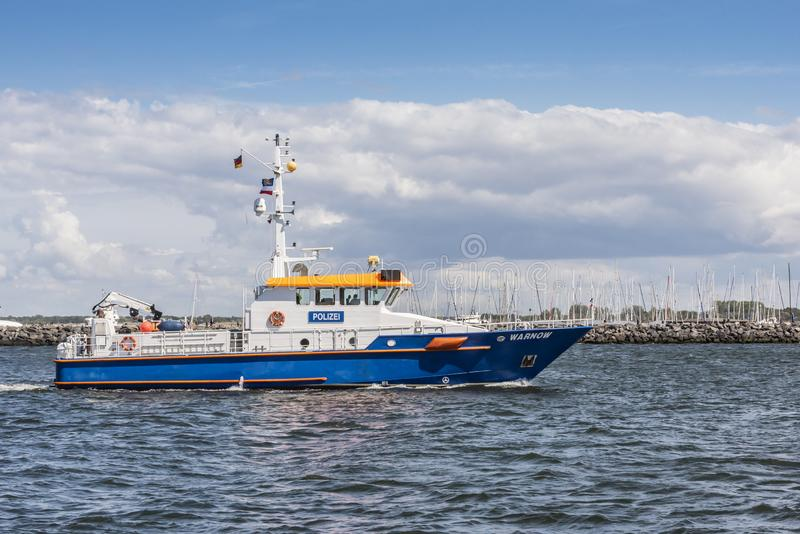 German police vessel Warnow Warnemünde stock images