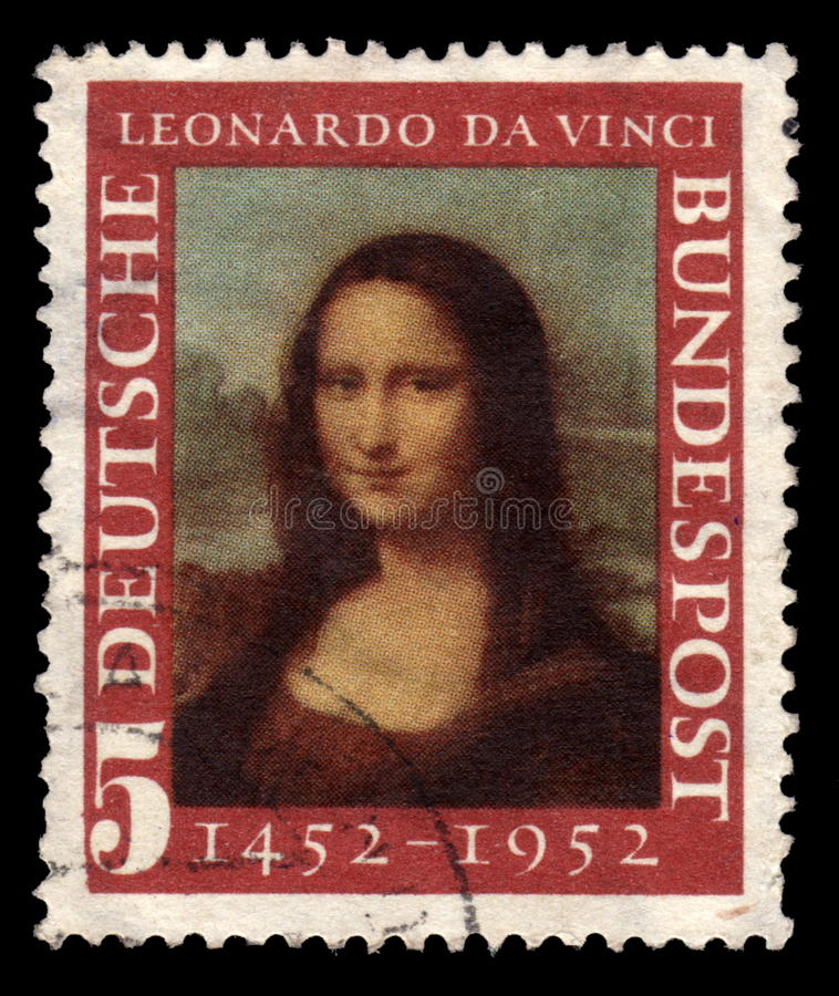 German postage stamp Mona Lisa. German postage stamp with a portrait image of the smiling Mona Lisa by the medieval Renaissance artist and inventor Leonardo Da stock photography