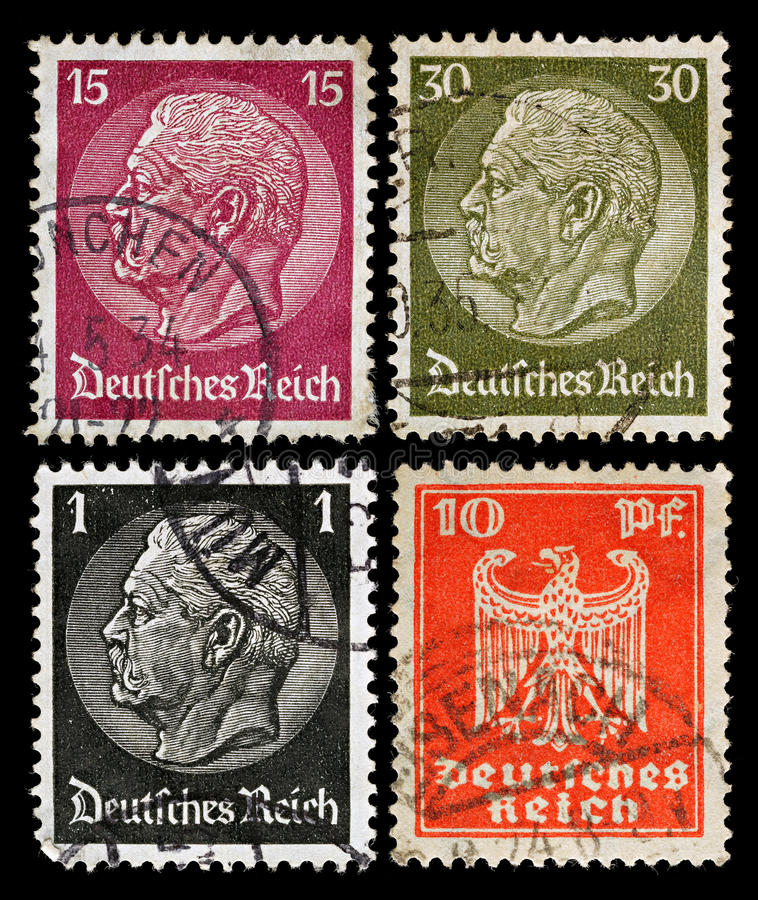 German Postage Stamps Royalty Free Stock Photos