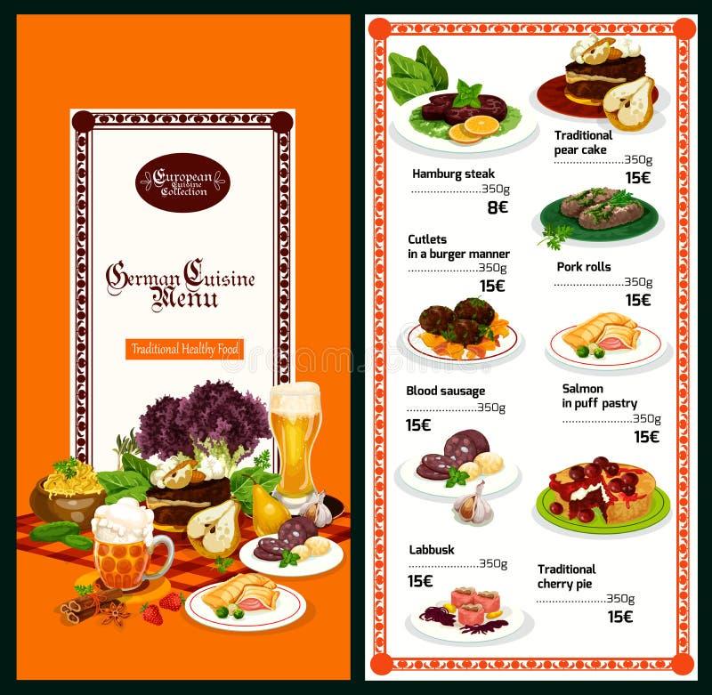 German restaurant menu with bavarian cuisine dish. German cuisine restaurant menu template with European dinner dish. Beef meat steak and pork roll, salmon fish stock illustration