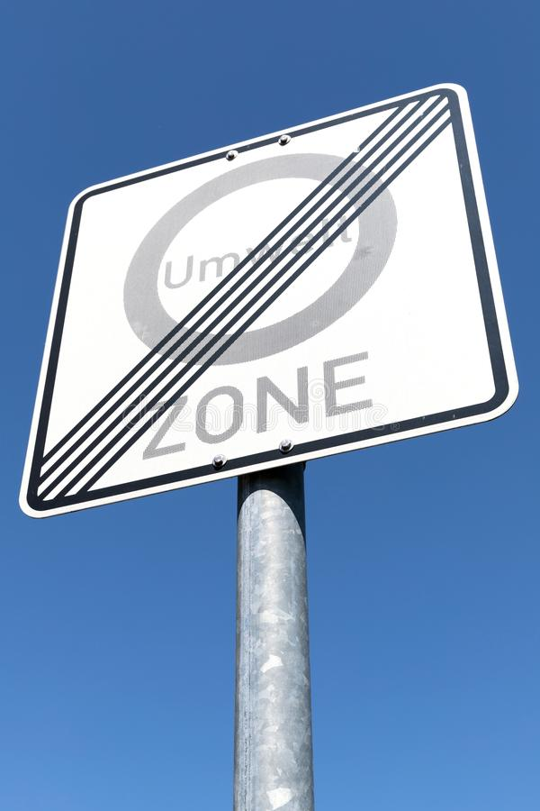 End of a low-emission zone. German road sign: end of a low-emission zone stock photography