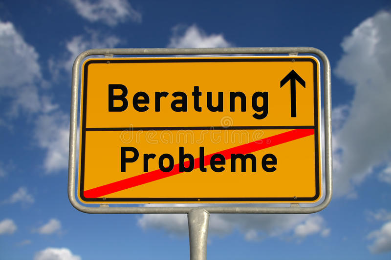 German road sign problems and consultation. With blue sky and white clouds royalty free stock image