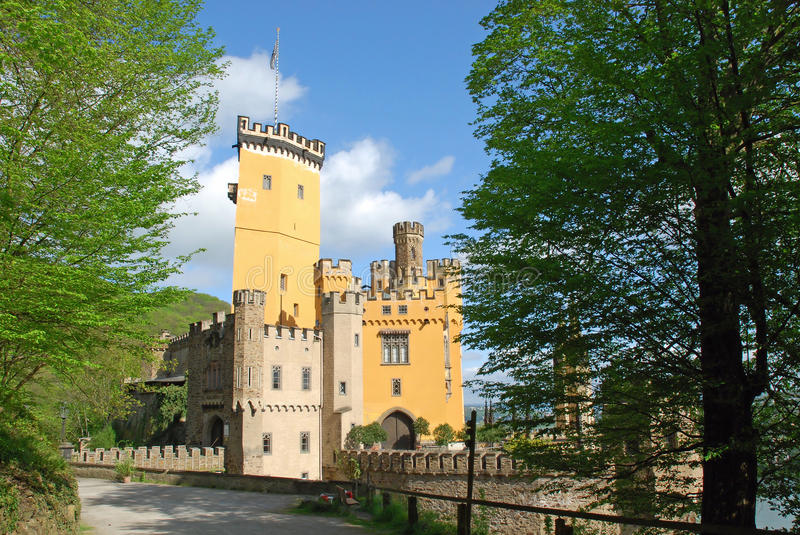 German Romantic yellow castle Stolzenfels, Coblenz stock photography