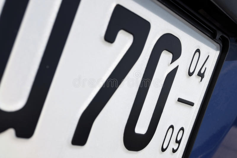 German seasonal number plate royalty free stock photo