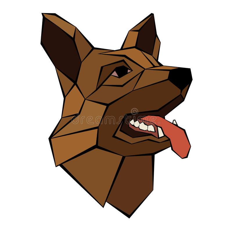 German Shepherd dog head realistic. Style poly vector illustration