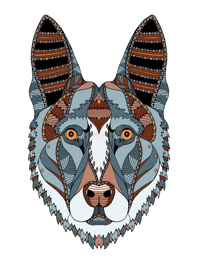German shepherd dog head zentangle stylized, vector, illustration, freehand pencil, hand drawn, pattern. Zen art. Ornate vector. Lace. Print for t-shirts vector illustration
