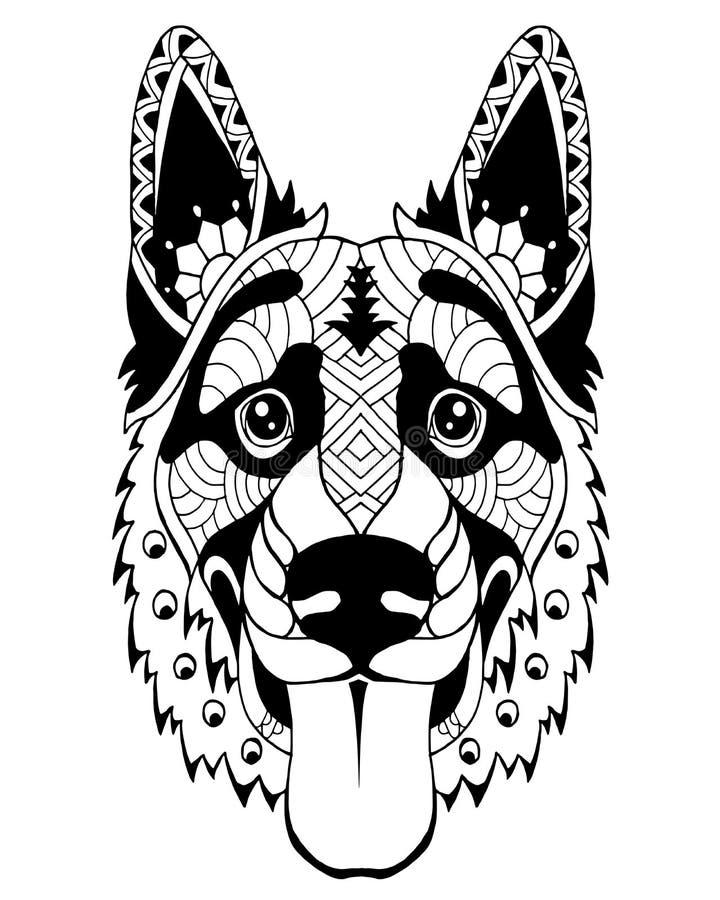 German Shepherd dog zentangle stylized. Freehand vector illustration stock photography