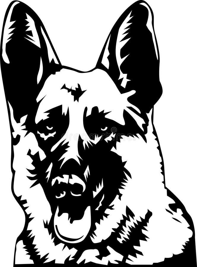 German shepherd portrait. Stylized black and white front illustration of a german shepherd