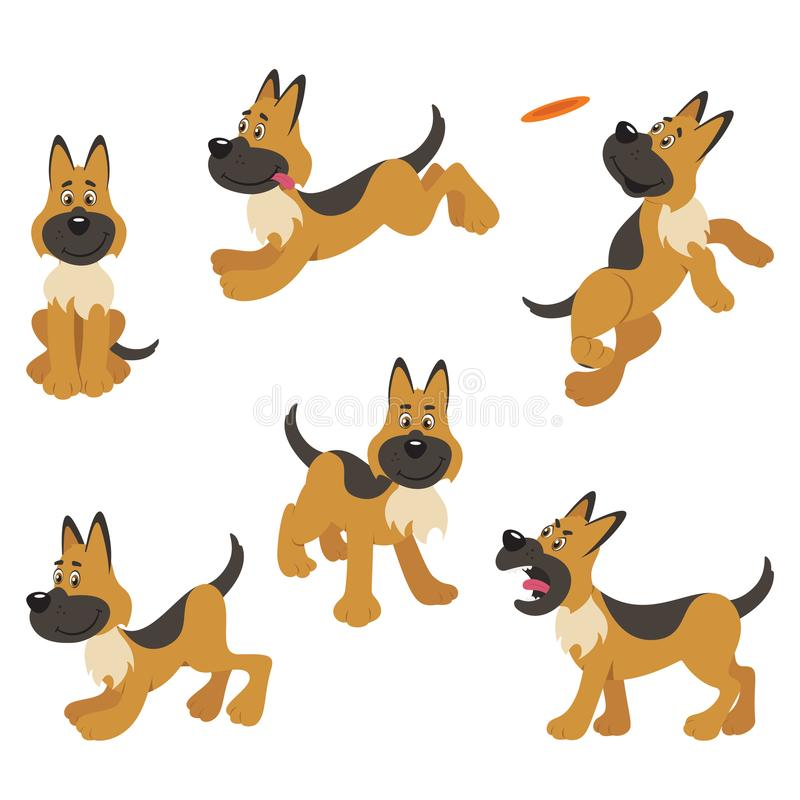 German Shepherd Puppy Dog Poses stock illustration