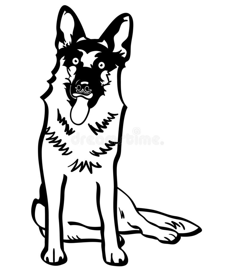 German shepherd vector eps Hand drawn, Vector, Eps, Logo, Icon, crafteroks, silhouette Illustration for different uses stock illustration