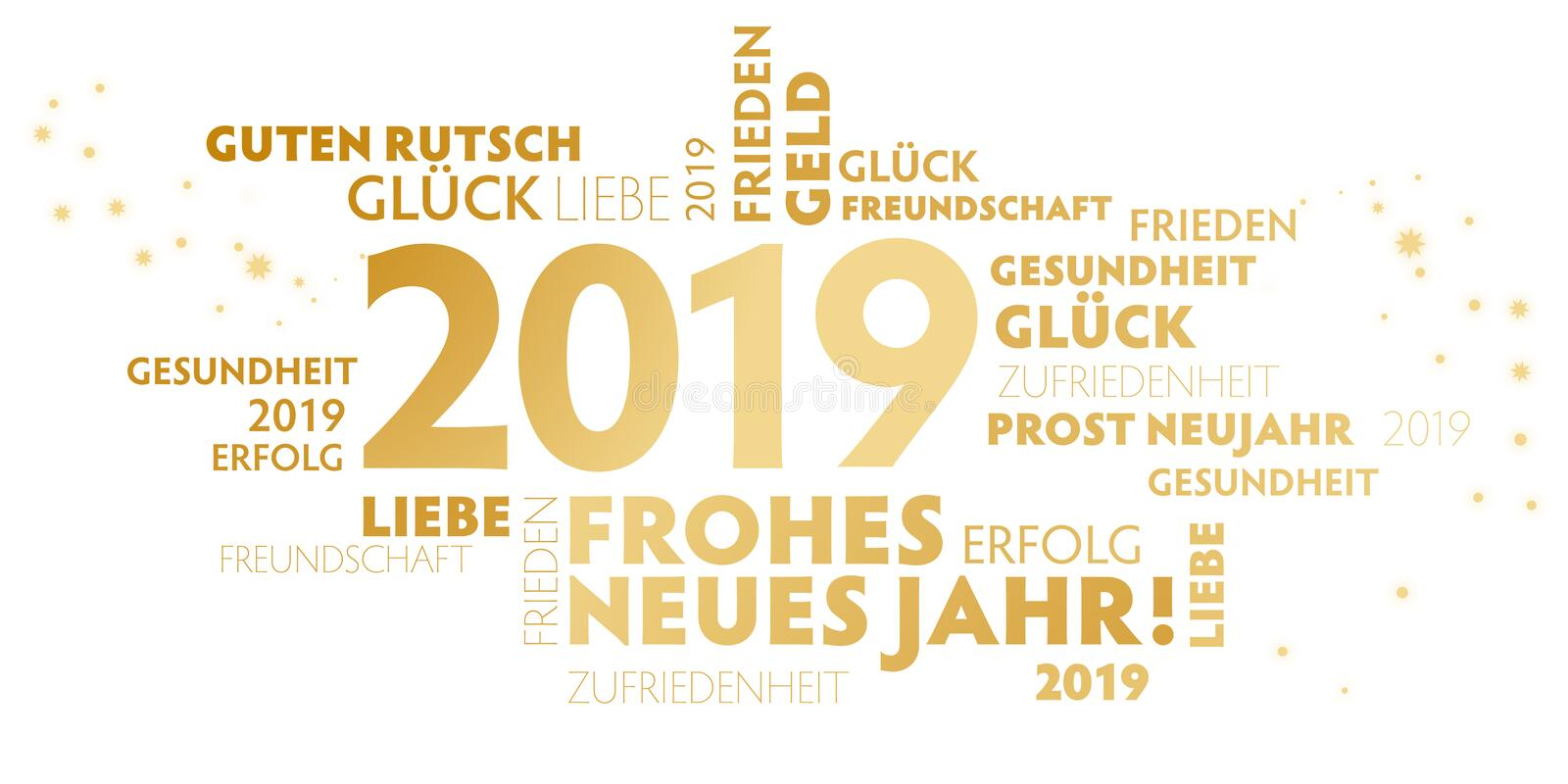 German slogan `frohes neues Jahr` happy new year on white Background royalty free illustration