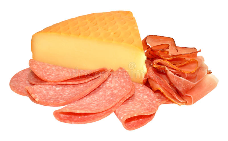 German Smoked Cheese And Salami Meat. Traditional German smoked cheese and slices of salami isolated on a white background stock photography