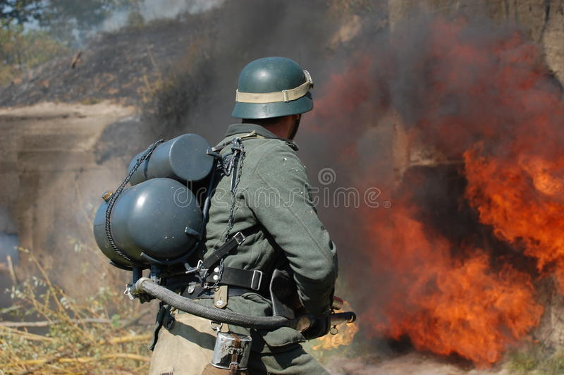 Download German Soldier With Flame-thrower Stock Illustration - Image: 21397501