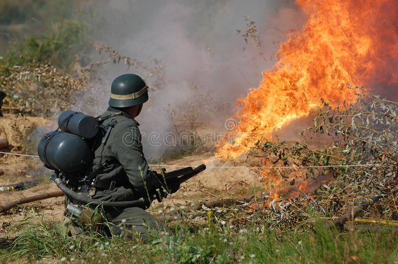 Download German Soldier With Flame-thrower Stock Illustration - Image: 21828468