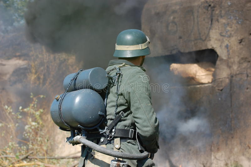German Soldier With Flame-thrower Stock Image