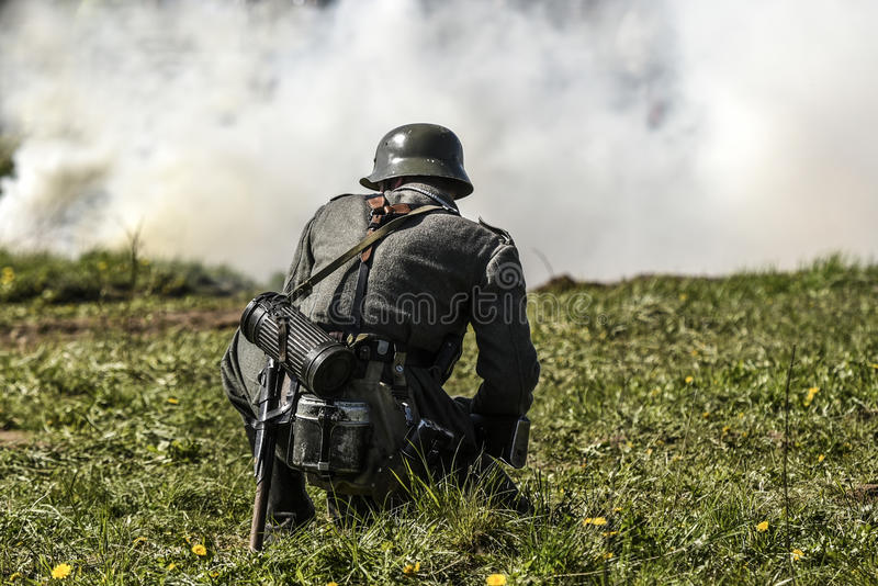 German soldier. Historical reconstruction, soldiers fighting during World War II. stock photo