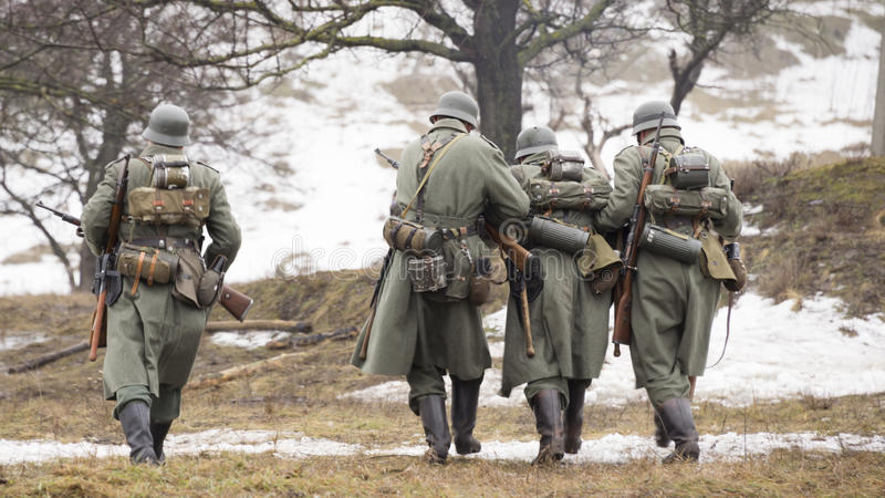 German soldiers retreating from the battlefield stock image