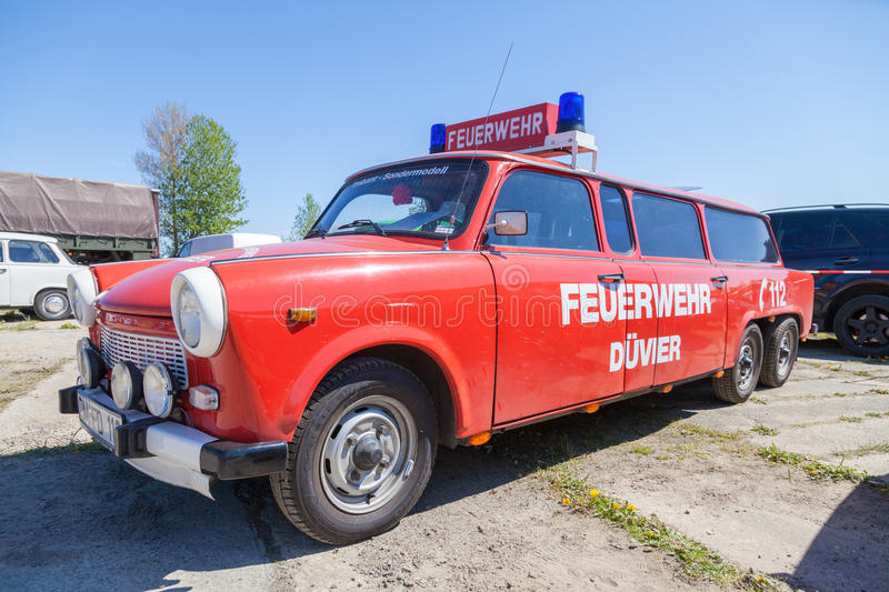 German special trabant version feuerwehr fire service. GRIMMEN / GERMANY - MAY 5, 2016: german special trabant version feuerwehr fire service stands on oldtimer stock photography