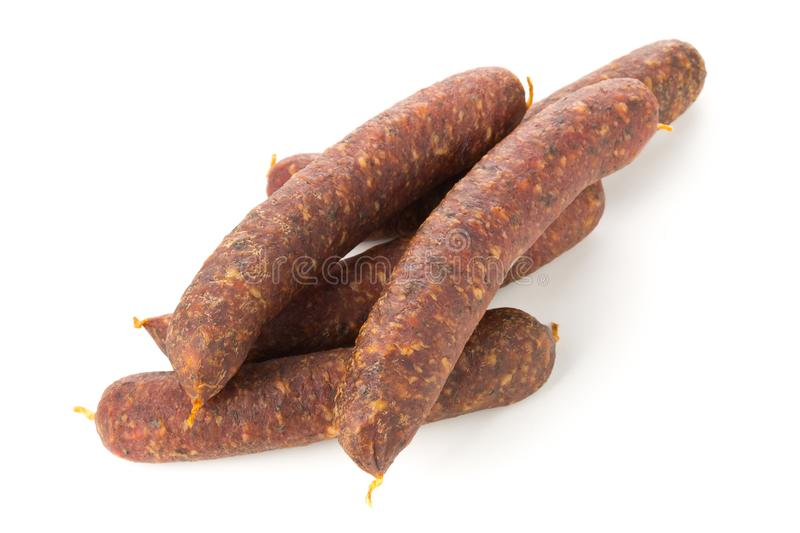 German specialty salami hard cured sausage whole over white royalty free stock photography