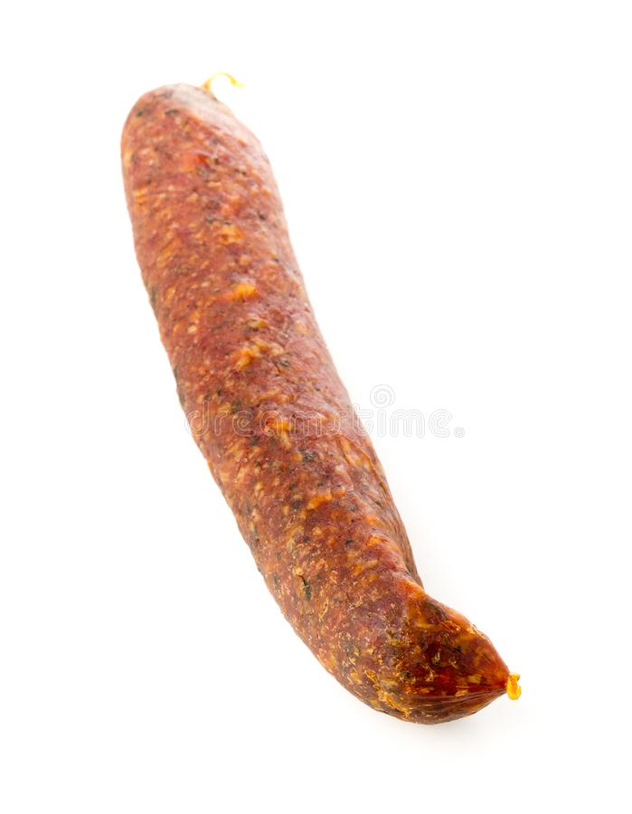 German specialty salami hard cured sausage whole over white stock photos