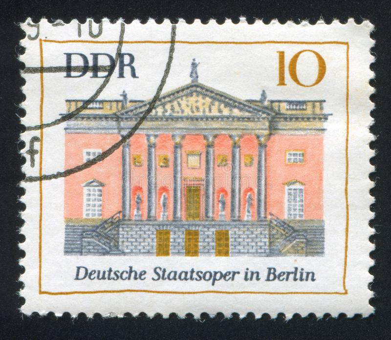 German State Opera. GERMANY - CIRCA 1969: stamp printed by Germany, shows German State Opera, Berlin, circa 1969 stock images