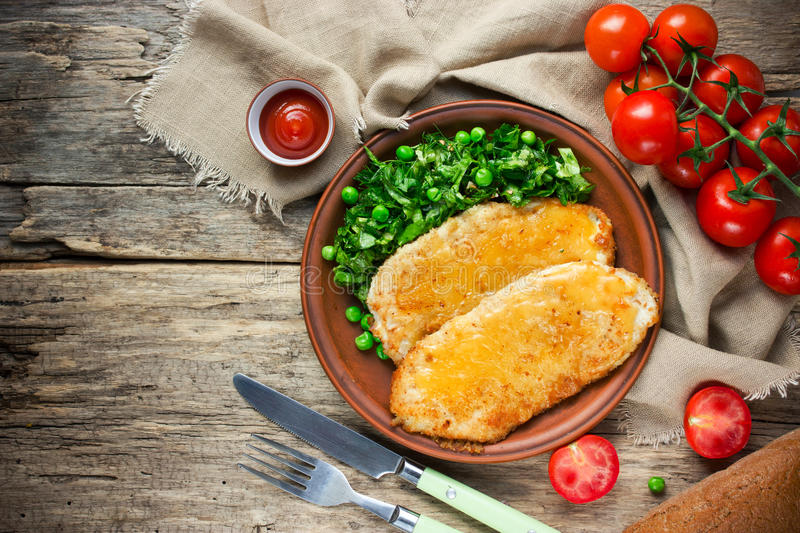 German-style chicken schnitzel royalty free stock images