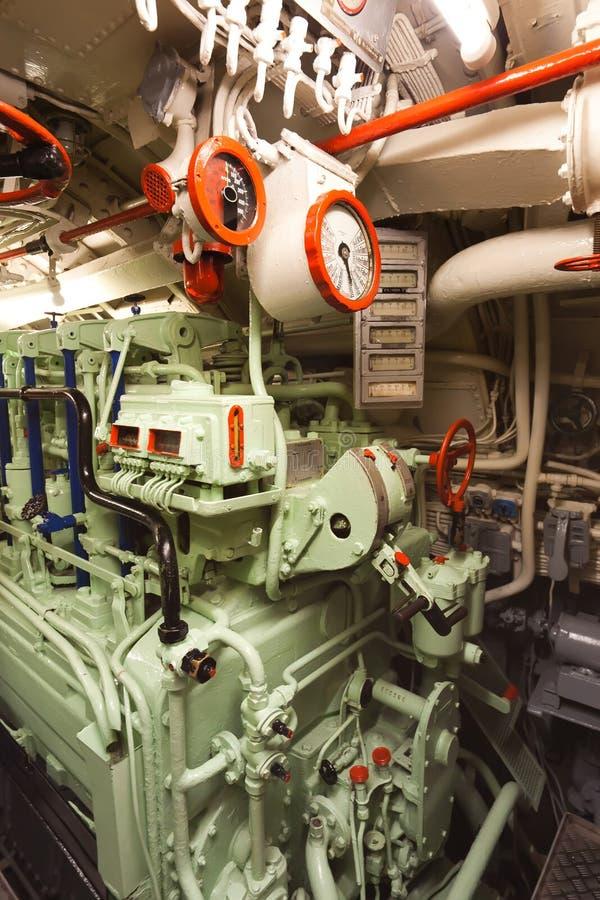 Army Tug Engine Room: Diesel Engine Room Stock Photo