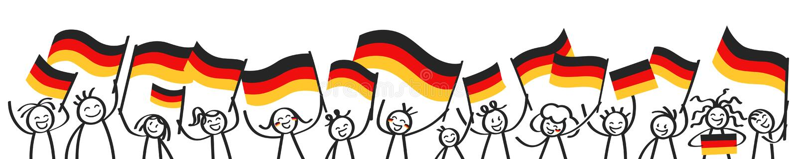 German supporters, sports fans, happy stick figures waving german flags, horizontal banner royalty free illustration