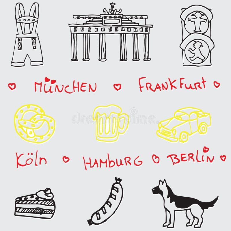 German symbol icon seamless pattern stock illustration