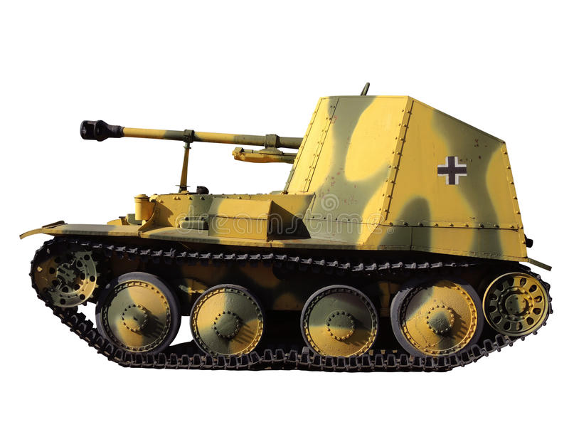 German tank model. Model of German tank of the World War II isolated on white royalty free stock photos