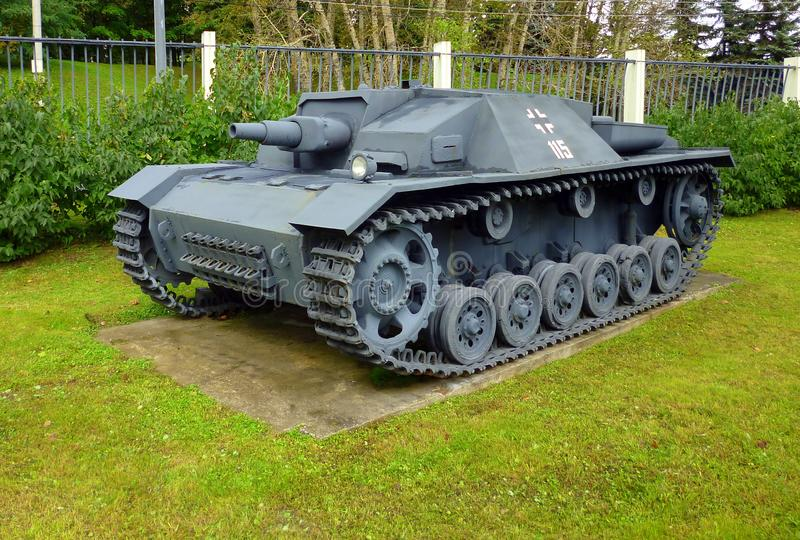 German tank WWII StuG III gray. Side view. Wehrmacht`s most massive tank during World War 2 stock images