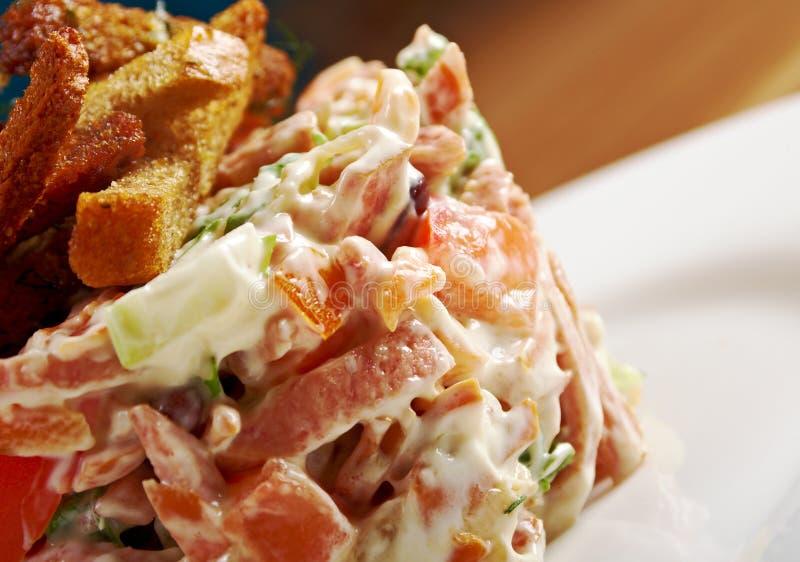 German tasty salad with sausage stock photo