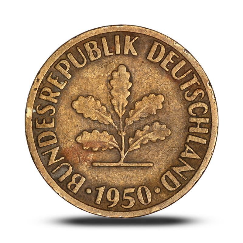 German ten pfennig coin from 1950. On a white background royalty free stock photos