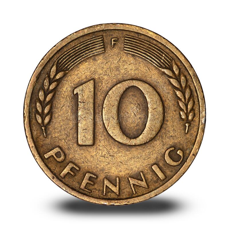 German ten pfennig coin from 1950. On a white background stock images