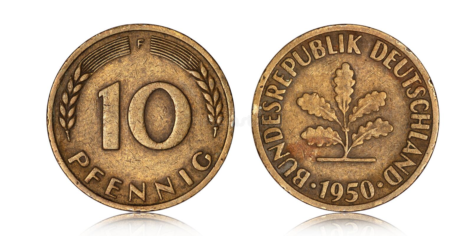 German ten pfennig coin from 1950. On a white background stock photo