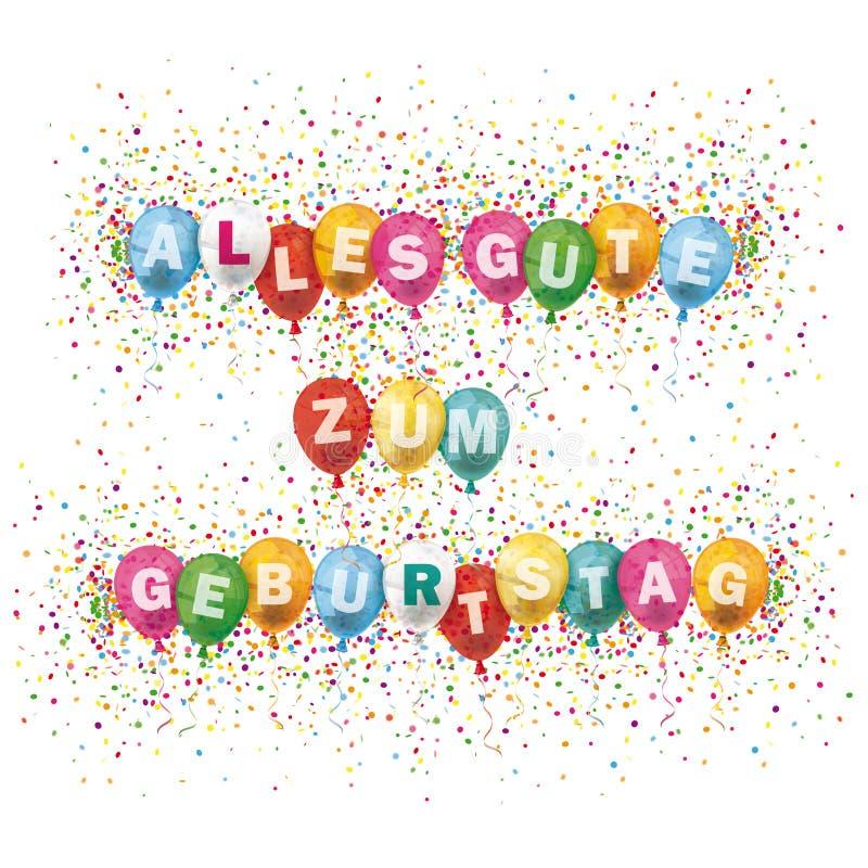 Alles Gute Geburtstag Cover Colored Balloons Confetti