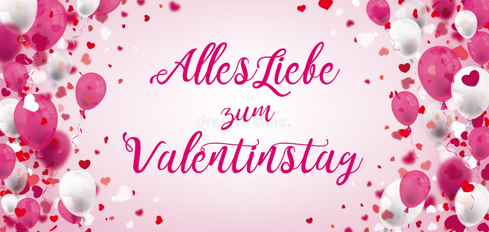Pink White Balloons Hearts Valentinstag Header. German text Alles Liebe zum Valentinstag, translate Happy Valentines Day royalty free illustration