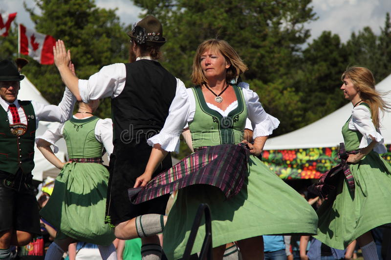 German traditional dancers. Perform at the 2016 Edmonton Heritage Days festival royalty free stock photography