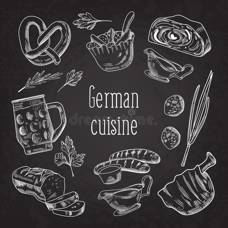 German Traditional Food Hand Drawn Outline Doodle. Germany Cuisine Menu Template. Food and Drink. German Traditional Food Hand Drawn Chalkboard Doodle. Germany vector illustration