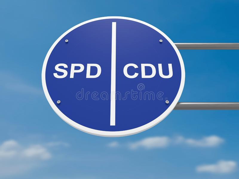 German Traffic Sign Politics Concept: Election Lanes SPD And CDU, 3d illustration stock photo