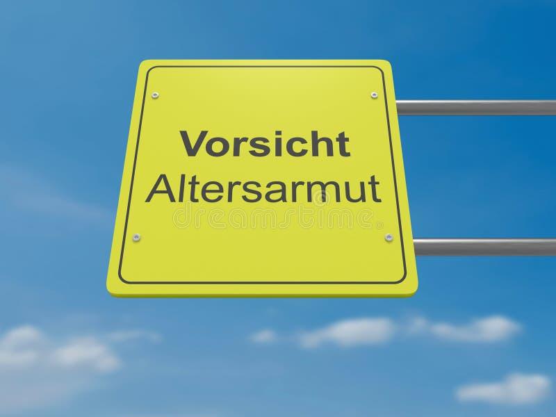 German Traffic Sign: Vorsicht Altersarmut, Meaning Caution Old-age Poverty In German Language, 3d illustration. German Traffic Sign Politics Concept: Vorsicht stock illustration
