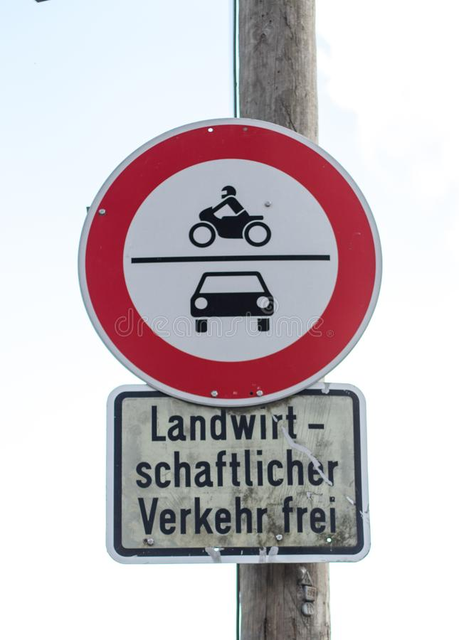 German Traffic sign, only for residents. German Traffic sign, entrance only for residents, farm traffic allowed, cars and bikes stock photo