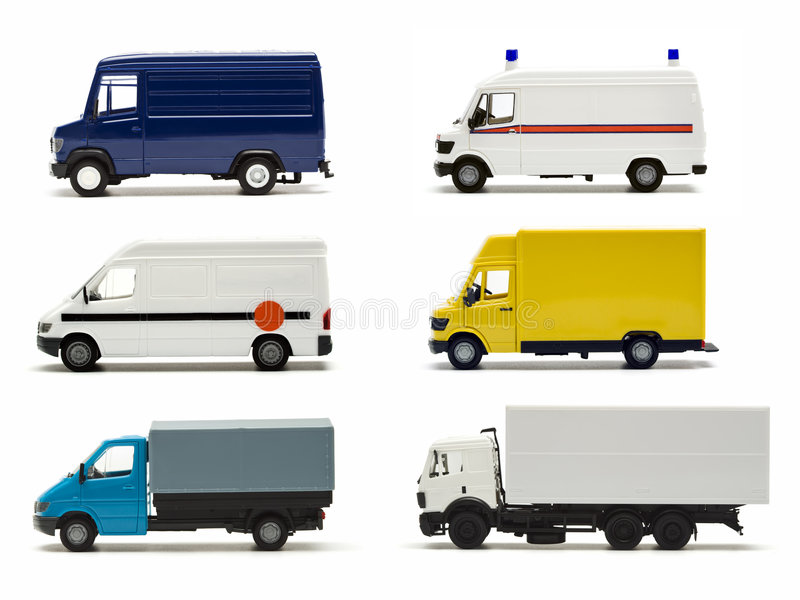 German truck miniatures collection. Six miniature models of german trucks and vans stock images