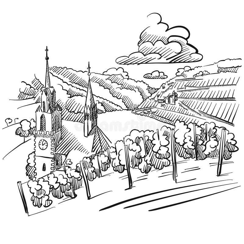 German Vineyard Sketch with Church, River and Hills. Hand drawn Vector Artwork royalty free illustration