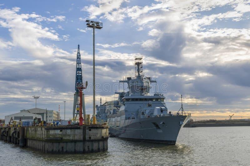 German warship. In the Hamburg port in Germany stock photo
