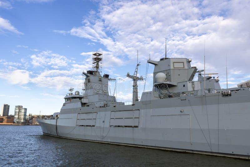 German Warship. German warship in the Hamburg port in Germany stock photos