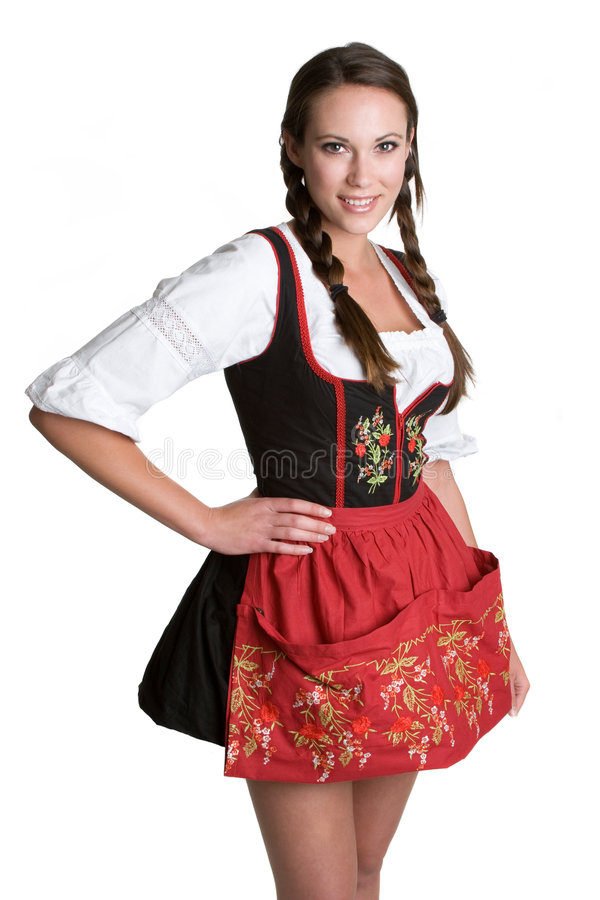 German Woman Smiling. Young pretty german woman smiling royalty free stock image