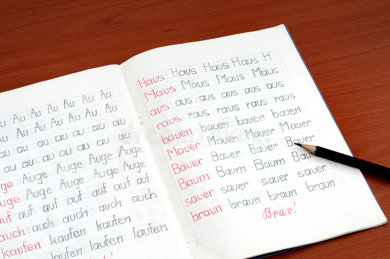 German Workbook. Workbook of a German elementary school with first exercises stock photo