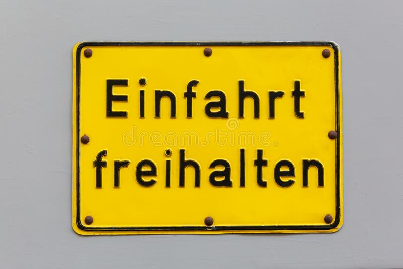 German written sign driveway clear royalty free stock photo