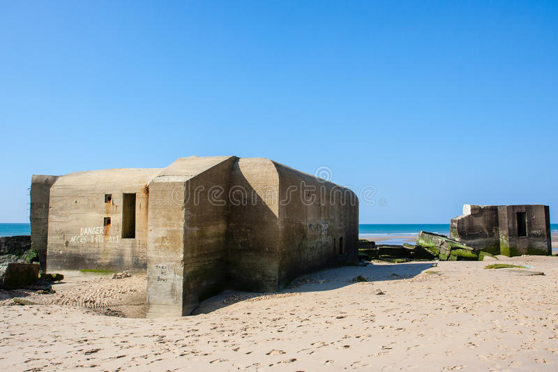 German wwii bunkers. Atlantic Wall bunkers on the Wissant beach, Nord-Pas-de-Calais – France stock image